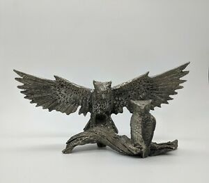 Stunning Owl Figurine Pewter Wings Spread Branch Landing Metal Sculpture