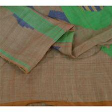 "Sanskriti Vintage Brown Pure Silk Woven Tant Design Fabric Decor Craft 50""X47"""