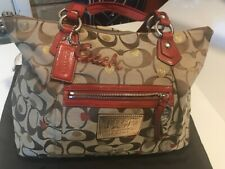 COACH  POPPY LARGE HANDBAG/TOTE  16289 BROWN WITH RED STRAPS NICE w/DUSTBAG