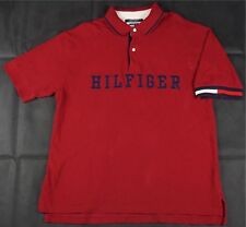0e94895d Rare Vintage TOMMY HILFIGER Embroidered Spell Out Polo Shirt 90s Flag Red  SZ XL