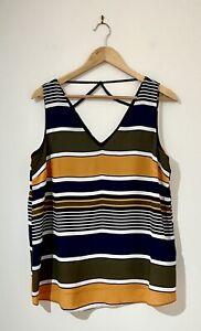 Dorothy Perkins Size 12 Top Black Navy Multicolour Stripe Sleeveless V-Neck