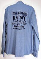 SCOTCH & SODA Men's Long Sleeve Press Stud Blue Fine Check Shirt size M