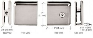 """Brushed Nickel Beveled Hole-in-Glass Style Wall Mount Glass Clamp 3/8""""-1/2"""""""