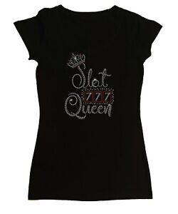 """Women's Rhinestone Tight Snug Shirt """" Slot Queen 777 """" in S, M, L, 1X, 2X, 3X"""