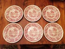 6 Genuine Villeroy & Boch Burgenland salad/dessert plates -  Pink Red Maroon