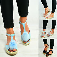 New Womens Ladies Pom Pom Espadrille Sandals Flats T Bar Ankle Shoes Size Uk 3-8