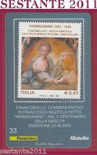 TESSERA FILATELICA FRANCOBOLLO  FRANCESCO MAZZOLA DETTO PARMIGIANINO 2003 E33