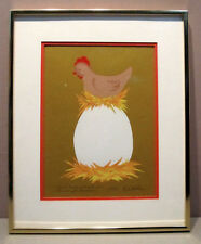 CHICKEN/HEN ON GIANT EGG__Orig Signed Silkscreen__SHIPS FREE