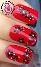 3D Auto Adhesiva Nail Art de transferencia calcomanías decorativas negro flores gemas estilo #531