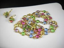 Signed AUSTRIAN CRYSTAL USA 14k Gold Filled Necklace & Earrings Set