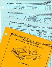 1957 1958 1959-1961 VAUXHALL FD SEDAN FW WAGON BODY ELECTRICAL PART SHEETS MF 3