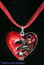 RED ENAMEL HEART SHAPED PENDANT W/ RHINESTONES  PRETTY