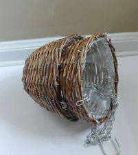 2 Wicker Hanging Hooks Basket For Artificial Flowers Or Fresh Plants