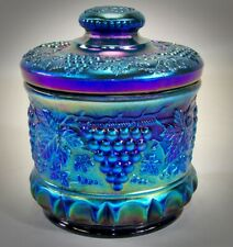 Rare Fenton Favrine Grape Cable Carnival Glass Tobacco Jar Humidor Limited Ed
