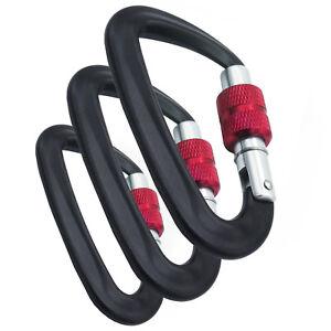 (3 Pack) Black / Red Locking Carabiner Aluminum Climbing Hook