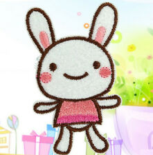Happy Pink Rabbit Embroidery Cloth Iron On Patch Sew Motif Applique ~1PC~