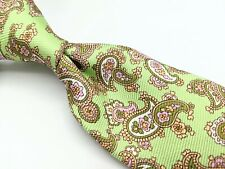 KITON NAPOLI Green Pink Paisley Thick 7 Seven Fold Silk Tie Made in Italy