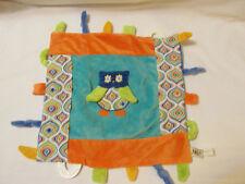 "Maison Chic Owl Lovey Security Blanket Velour Taggie Knots Ribbon Toy Orange 14"""