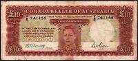 ND (1942) Australia £10 Pounds Banknote * V/8 741155 * G-VG * P-28b *