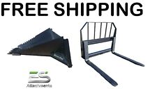Es Stump Bucket Amp 48 Pallet Fork Combo Free Shipping Skid Steer Quick Attach
