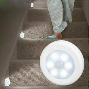 6 LED Motion Sensor Lights PIR Wireless Night Light Battery Cabinet Stair Lamp r