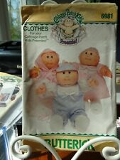New listing Butterick 6981 Cabbage Patch Kids Preemies Baby Clothes Uncut