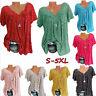 Summer Women's Floral Print V-neck T-Shirt Short Sleeve Casual Tops Blouse S-5XL