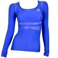 Adidas Techfit Powerweb Damen Kompression Shirt langarm Laufshirt Sport TPU blau