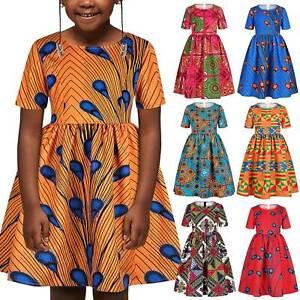 African Kids Girls Casual Printed Swing Skater Mini Dress Party Sundress Summer