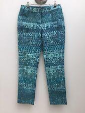 Sportscraft sz 8 Teal Green Print Stretch Cotton Ankle Length Pants AS NEW