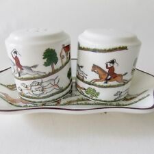 COALPORT HUNTING SCENE SALT AND PEPPER CONDIMENT TRAY HORSES HUNTING FOX DOGS