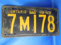 ONTARIO LICENSE PLATE 1943 7M178 CROWN CANADA VINTAGE CAR SHOP GARAGE SIGN