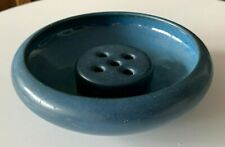 Vintage Marblehead Pottery Matte Blue Low Bowl and Flower Frog