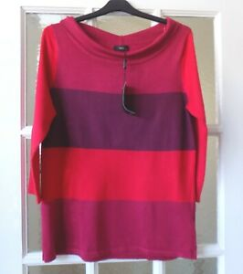 M&Co Red Stripe Lightweight Jumper 3/4 length Sleeves, Size 12, Brand New Tags