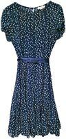 DRESSBARN NAVY BLUE POLKA DOT TRAVEL DRESS RUFFLE FLOUNCY COCKTAIL FLIRTY SZ. 6