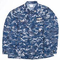 Vintage US NAVY Blue Digital Camo Printed Shirt Size Men's Large