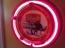 Schmidt Ice Fishing Beer Bar Advertising Man Cave Neon Wall Clock Sign