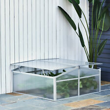 More details for outsunny outdoor 2 level adjustable roof cold frame greenhouse aluminium frame
