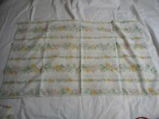 Set of 2 Vintage green pink blue on white floral standard pillowcases
