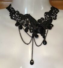 Burlesque Sexy Gypsy Black Rose Butterfly Lace chain Bead Drop Necklace S2