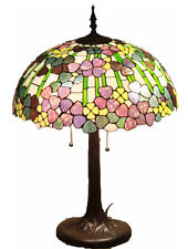 """Tiffany Style Stained Glass Lamp """"Biltmore"""" w/ 20"""" Shade & Tiffany Winter Card"""