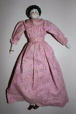 """Antique 1870s Hertwig China Head Doll Low Brow Center Part Dress 12"""" Germany"""