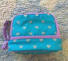 POTTERY BARN Kids Dual Compartment Teal Hearts lunch box lunchbox blue *read*