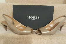 HOBBS Sandals Sling back Open Toe Nude Patent Leather Size 6 Boxed Worn once