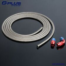 An4 Stainless Braided Oil Fuel Line Hose 1m/3ft+Straight+90° Swivel Fitting 4-An