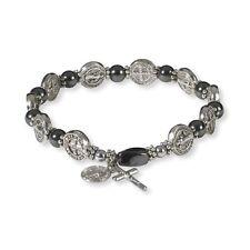 "St. Benedict Stretch Hematite Rosary Bracelet (VC380) NEW 7 1/2"""