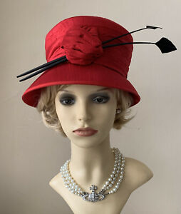 Red Silk Vintage Inspired  Formal Cloche Hat With Feather Detail Wedding Church