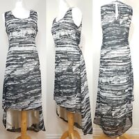 Religion Black Beige Striped High Low Fitted Shift Dress Layered Chiffon Size 10