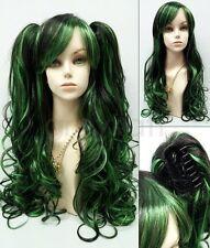 "Green Black Wig Removable Ponytails Lolita Cosplay Fashion Harajuku 30"""