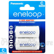 2 x Eneloop C Size Adapter Transforms AA battery Converter Adaptor Spacer BQBS2E